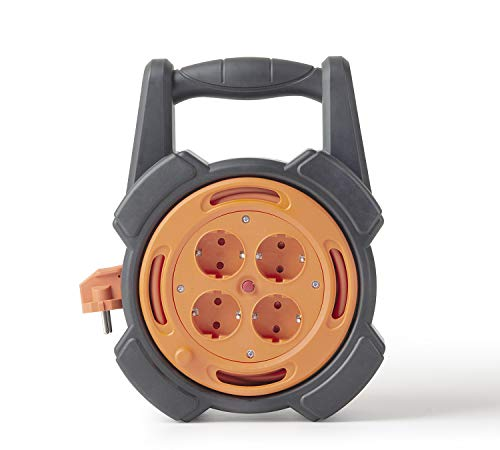 NEUVIELE Kabeltrommel mit 4 Schutzkontakt Steckdosen Kabelrolle 10M Kabelbox Indoor für Haushalt