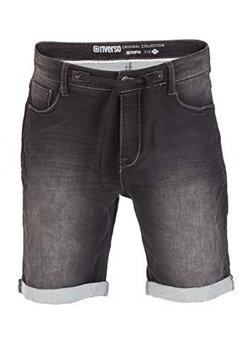 riverso Herren Jeans Shorts RIVFred Kurze Hose Sommer Bermuda Stretch Sweathose Baumwolle Schwarz Grau Blau Dunkelblau w30 - w42, Größe:W 38, Farbe:Used Black (B22)