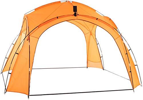 CLP Carpa Camping 3,5 x 3,5 m con Luces LED I Carpa para Eventos con Captador Solar & Paredes Laterales con Mosquitera I, Color:Naranja