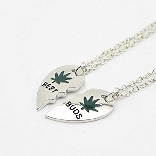 "Gudeke Marijuana Leaf""Best Buds"" BFF Best Friends Valentine Heart Weed Leaf Cannabis Pot Pendant Necklaces (2 PC)"