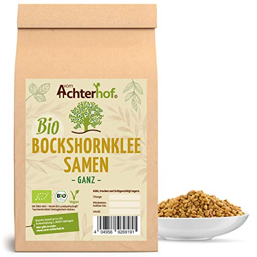 Bockshornklee Samen ganz BIO (1kg) | Bockshorn-Tee | Bockshornkleesamen | Ideal als Tee oder Gewürz | Fenugreek Seeds Whole Organic