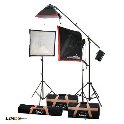 Britek#FK2800 Professional Photography Fluorescent Cool Light Kit with BOOM+3 Cool Light Holder+3 Fluorescent Lamp+3 Softbox+2 Compact Light Stand+1 Studio Boom stand+2 Carrying Bag