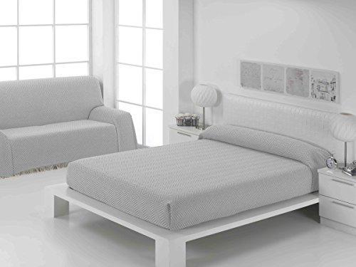 Confort-Home - Copriletto mod. Foulard, multiuso, adatto per divano a 2/3posti e letto da 90, 135/150 cm, color platino,realizzato in Spagna 125_x_180_cm caffè