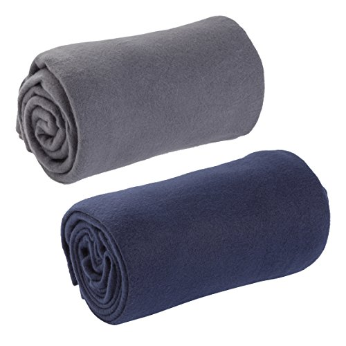 World's Best Cozy-Soft Microfleece Travel Blanket, 50 x 60 Inch, Charcoal & Navy (Pack of 2)