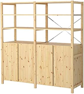 Ikea 2 section shelving unit w/cabinet, pine, 68 1/2x19 5/8x70 1/2