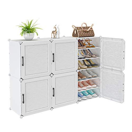MAGIENLS Portable Shoe Rack, 36-Pair DIY Shoe Storage Shelf Organizer, Plastic Shoe Organizer for Entryway, Shoe Cabinet with Doors, White