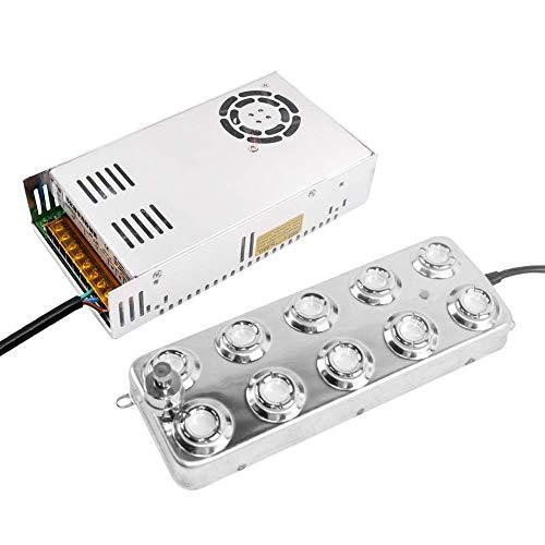 Mist Maker Fogger 10 Head Ultrasonic Mist Maker Fogger Luftbefeuchter Edelstahl Luftbefeuchter für Garten, Party, Pflanzenbefeuchtung, Szenische Effekte