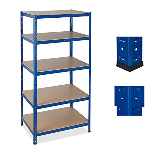 Relaxdays Schwerlastregal, 5 Ebenen, Traglast 1325 kg, Steckregal Keller, Garage, Werkstatt, 180x90x60, Metall/MDF, blau