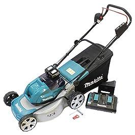 Makita DLM460PT2 Tondeuse à Gazon sans Fil 2 x 18 V / 5,0 Ah 2 Batteries + Chargeur Double 18 V Noir, Bleu Gris