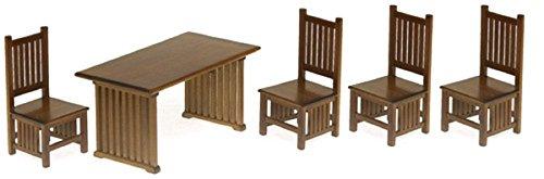 Preisvergleich Produktbild Aztec Imports,  Inc. Miniatur-Set T6641 Puppenhaus-Tisch und Stühle,  Maßstab 1:12,  Walnussholz,  5-teilig