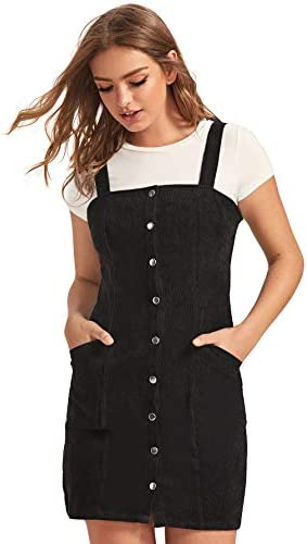 Floerns Women s Corduroy Button Down Pinafore Overall Dress with Pockets A Black Pocket XS product image