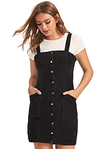 Floerns Women's Corduroy Button Down Pinafore Overall Dress with Pockets A Black Pocket XS