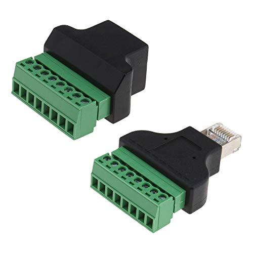 2 Teiliger RJ45 8P8C Stecker auf 8-Polige Schraubklemmenblock Wandler Netzwerk Ethernet Adapter für CCTV Digital DVR