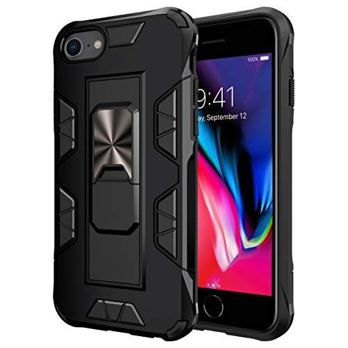 jaligel Funda para iPhone SE 2020/8/7/6 con anillo (trabaja con soporte magnético para coche), carcasa de silicona antihuellas y antiarañazos, color negro