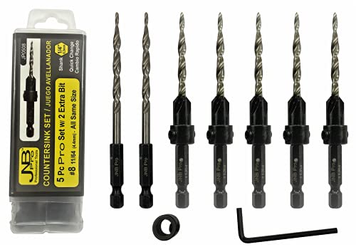 JNB Pro Wood Countersink Drill Bit Set - 5 Pc Adjustable Countersink Bit #8(11/64') All Same Size - 2 Extra 11/64 Tapered Drill Bit, 1 Adjust. Collar, 1 Wrench - 1/4' Quick Change Shank - Countersink