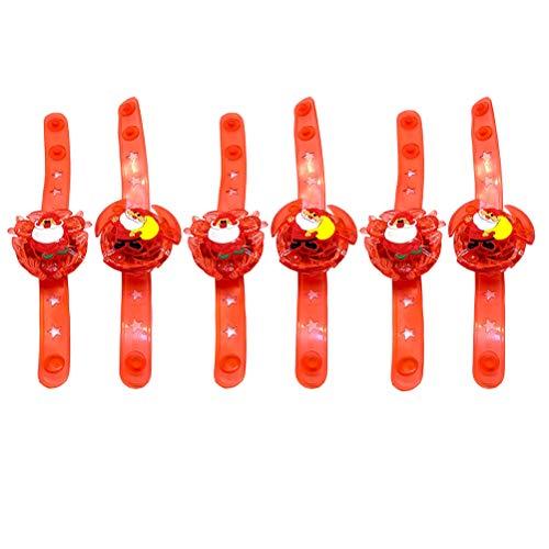 VILLCASE 6Pcs Navidad Divertidos Trompos Juguetes Peg- Tops Juguetes Pulseras Luminosas Decoración navideña Decoración de Juguetes navideños