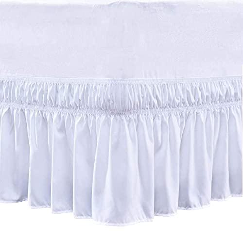 Cottingon Wrap Around Elastic Bed Skirt,Three Sides Fabric, Solid, Easy On/Easy Off Dust Ruffled Bed Skirts,Dust Ruffle Wrap Around Style,Ruffled Wrap Bed Skirts - Pure White - King/Cal.King_16