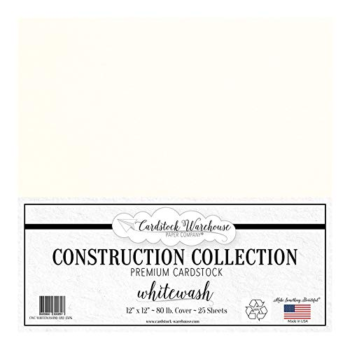 Whitewash White 100% Recycled Cardstock Paper - 12 x 12 inch PREMIUM 80 LB. COVER from - 25 Sheets from Cardstock Warehouse