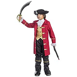 Product comes complete With; Jacket with attached vest, Pants, Boot Covers, Lace Jabot and Eye Patch Red long jacket has gold trimming, bronze buttons and lace cuffs, Available in size 8-10 Years (Waist: 76-82, Height: 114-127 cm) Made with 100 perce...