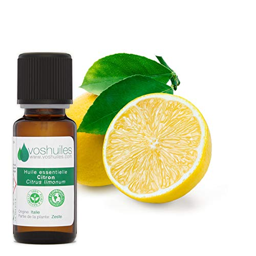 Huile Essentielle de Citron d'Italie - 100% Pure et Naturelle - HEBBD - Parfum Frais d'Agrume - Idéal pour Diffuseur - 10 ml - Aromathérapie - VOSHUILES