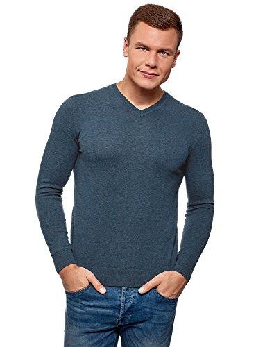 oodji Ultra Herren Basic Pullover mit V-Ausschnitt, Blau, DE 52-54 / L