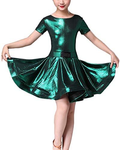 Kinder Mädchen Tanzkleid Ballett Rumba Samba Latin Kleid Röcke Dancewear Performance Kostüme Grün 1 160