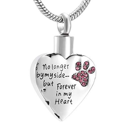 YJLT Funeral Memorial roze kristallen hond poot in mijn hart crematie ketting niet langer door mijn kant maar voor altijd in mijn hart Urn hanger voor huisdier