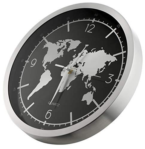 Orologio da Parete, Movimento Silenzioso, Stile Moderno con Mappamondo, Forma Rotonda Diametro 30 CM, Adatto a Decorare Sale, Corridoi, Uffici, Hotel, Ristoranti