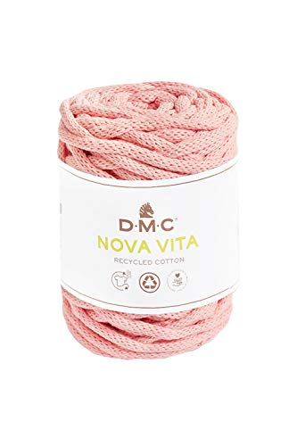DMC Nova Vita Cotton 041 Soft pink, Makramee Garn 4mm dick, 250g Baumwollkordel, Blumenampel knüpfen, auch zum Stricken, Häkeln für Nadelstärke 12mm