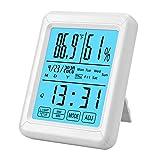 Termómetro y Higrómetro Digital, eSynic Luz de Fondo Táctil Termómetro de Temperatura y Humedad con Pantalla Táctil Grande para Dormitorio de Oficina en Casa Habitación de Bebé-azul