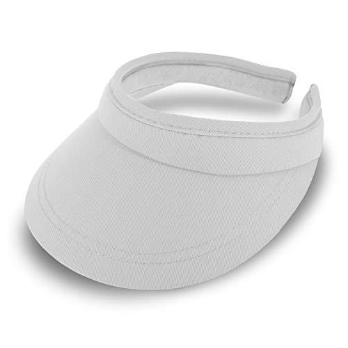 fiebig Visor | Schattenspender für das Gesicht |Clipvisor in One Size | In vielen Farben aus 100% Baumwolle | Sommerkappe mit Frotteeband Innenfutter | Sonnenschutz Schirmcap (weiß)