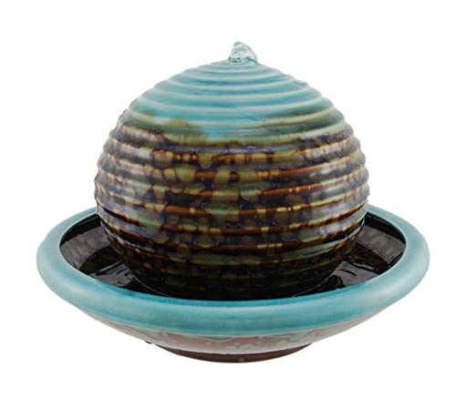 Distinctive Designs Turquoise Porcelain Sphere Water Bowl Fountain