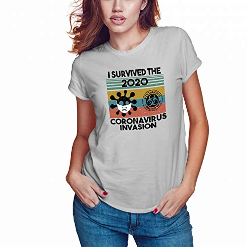 WGC I Survived The 2020 Coronavirus Invasion T-Shirt Grigia da Donna di Alta qualità Size S