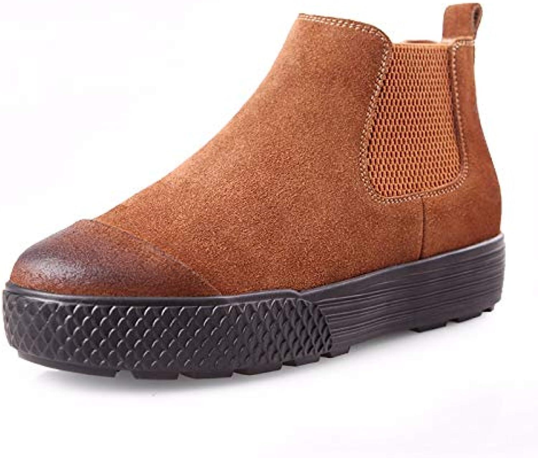 XIAOGEGE Kurze Stiefel Herbst und Winter Leder-Scrub Damen Stiefeletten Stiefel Kurze Flache Schuhe  | Modisch