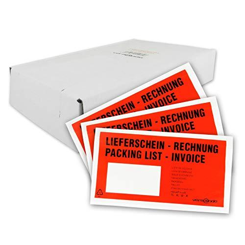 250 Begleitpapiertaschen Lieferscheintaschen versando DIN lang DL 23x13cm rot/schwarz bedruckt mit Lieferschein/Rechnung selbstklebend