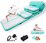 DAIRTRACK IBATMS 5PCS Set Air Mat Tumble Track Gymnastics Inflatable Tumbling Mat with Electric Air Pump for Home Use/Tumble/Gym/Training/Cheerleading (green-5pcs)