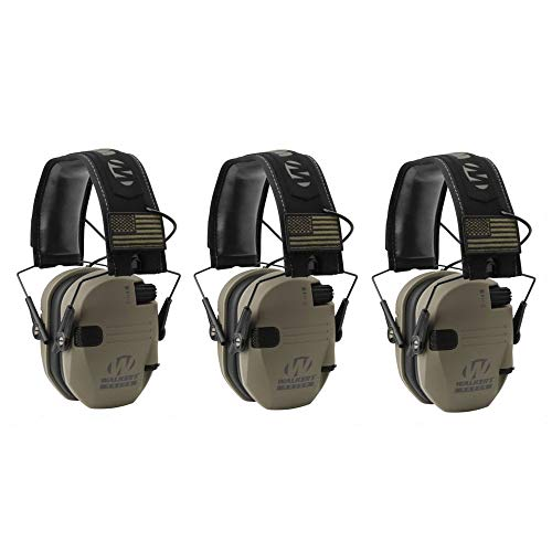 Walker's Razor Slim Shooter Electronic Hunting Folding Hearing Protection Earmuffs w/ 23dB Noise Reduction & Sound Amplification, Tan Patriot, 3 Pack