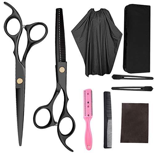 Juego de 9 tijeras de corte de pelo, juego profesional de tijeras de corte de pelo con tijeras de cortar, peine, capa, clips, tijeras de peluquería negras para peluquería, peluquería