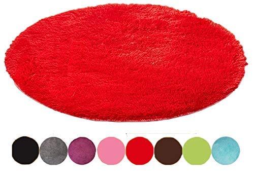 Emorias Runder Teppich, Shaggy-Stil, schöne Dekoration für Schlafzimmer und Wohnzimmer, weich, 1Stück 60 cm Rot L