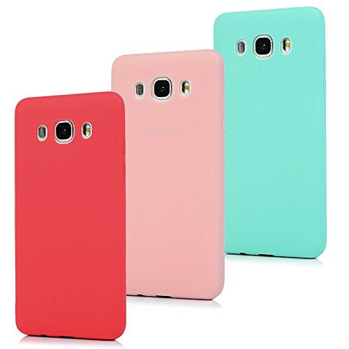 MAXFE.CO 3X Cover per Samsung Galaxy J5 2016, J510 Custodia Morbida Silicone TPU Flessibile Gomma Case Ultra Sottile Cassa Protettiva per Samsung Galaxy J5 2016/J510 - Rosso + Rosa + Menta Verde