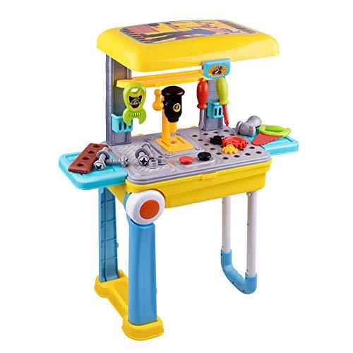 K9CK Banco de Trabajo Infantil, 23 Piezas Caja de Herramientas Maleta Plegable Juguetes con Taladro/Atornillador Juguete para niños de 3 años