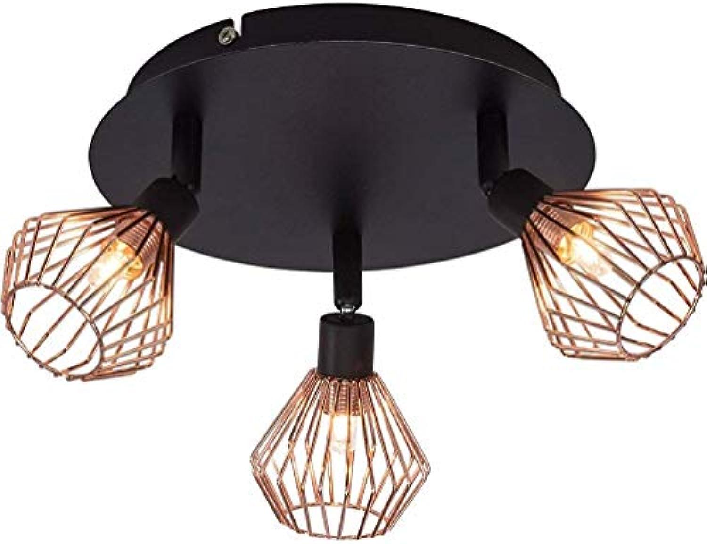 ERN TO GO GMD ERNTOGO Vintage Retro Design Rustikal Deckenleuchte Deckenlampe Lampe Leuchte Innenbeleuchtung Wohnzimer Schlafzimmer Rund  Metall schwarz kupfer 20cm Entlt LED Warmes Licht 9W