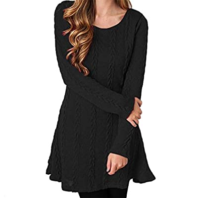 Zoylink Women's Dress Fashion Casual Long Sleeve Crew Neck Knitted Dress Sweater Dress