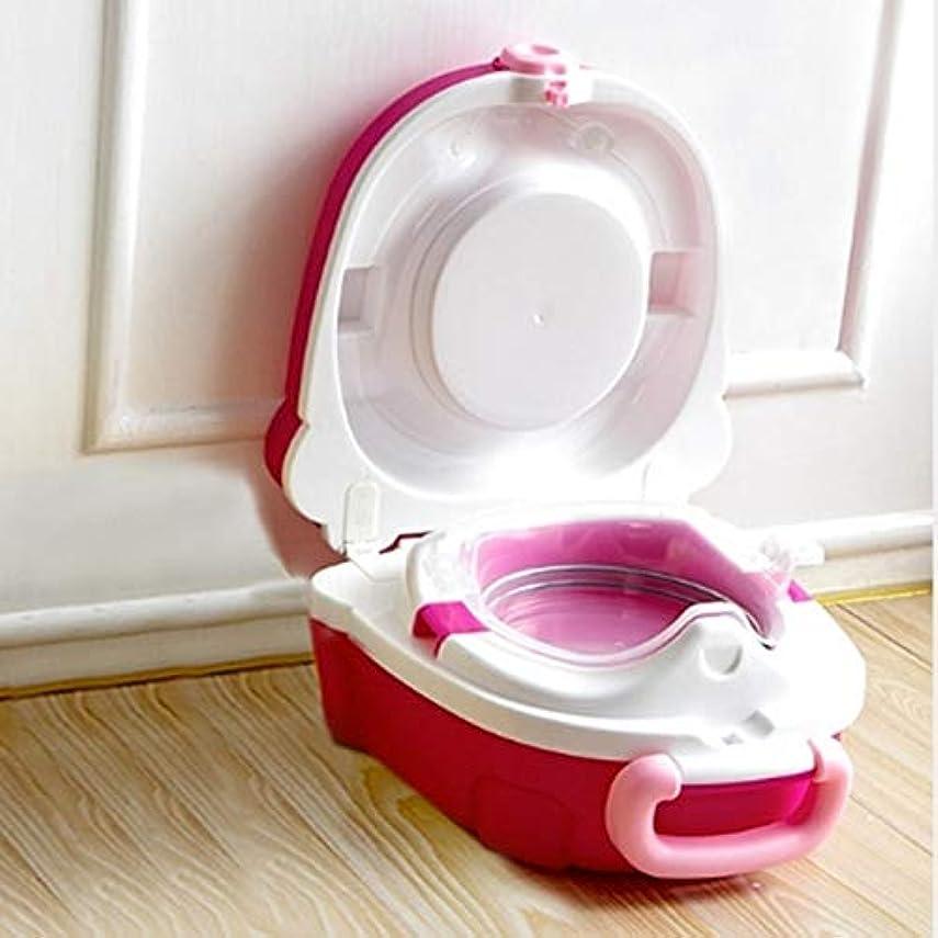 なくなるスロー浴子供のトイレ、子供ハンブルトイレ子供ポータブルトイレTravelは、ポータブルカーマウント zhangpopoqiye (Color : Red)