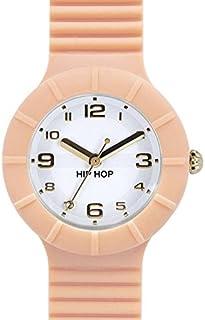 Orologio HIP HOP donna NUMBERS COLLECTION quadrante bianco e cinturino in silicone rosa, movimento SOLO TEMPO - 3H QUARZO