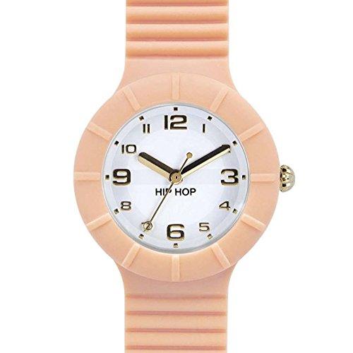 Orologio HIP HOP donna NUMBERS COLLECTION quadrante bianco e cinturino in silicone salmone, movimento SOLO TEMPO - 3H QUARZO