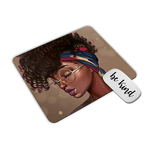 Dikoer African American Girl Mouse Pad for Laptops Office Computer Decor,Cute Gaming Mousepad with Design, Non Slip Rubber Mouse Mat and be King Sticker
