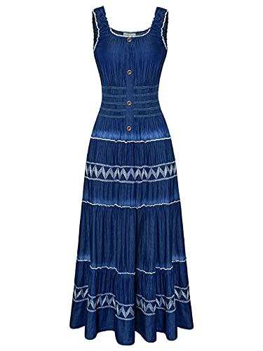 DREFBUFY Maxi Dress Women's Summer Boho A-line Sleeveless Midi Dresses Embroidered Pleated Casual Long Denim Look for Women (Blue05, Medium)