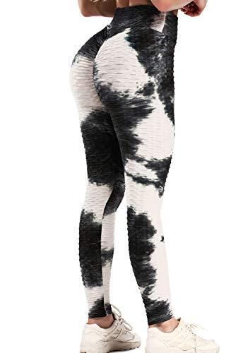 FITTOO Leggings Push Up Mujer Mallas Pantalones Deportivos Alta Cintura Elásticos Yoga Fitness Negro & Blanco S