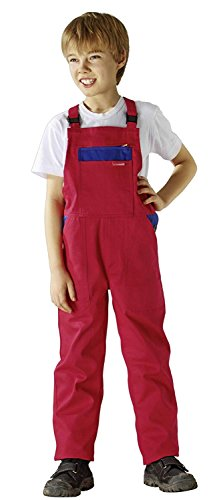 Planam Kinderlatzhose in verschiedenen Farben, Kinder Arbeits-Latzhose (122/128, rot/kornblau)